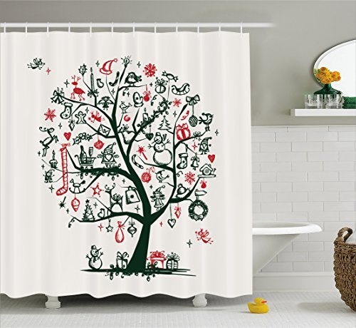 Ambesonne Christmas Shower Curtain, Large Tree Year Ornaments Presents and Candles Angels Holiday Theme, Fabric Bathroom Decor Set with Hooks, 70 Inches, Green Vermilion