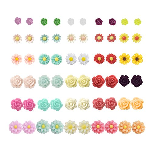 11 Post Mm Flower (36 Pairs Mix Pearls Ball Daisy Rose Flower Assorted Earrings Studs Set, Hypoallergenic (30 Flowers))