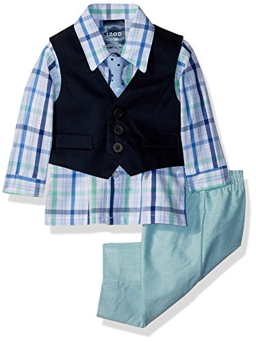 Izod Baby boys 4-Piece Vest Set with Dress Shirt, Bow Tie, Pants, and Vest, Green, 0/3 Months
