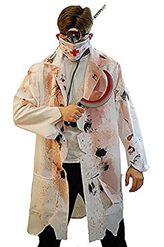 Dr Evil Costume Xxl (Halloween-Evil-Stage-Panto ZOMBIE HORROR DOCTOR Men's Fancy Dress Costume - From Sizes Small-4XL (XXL))