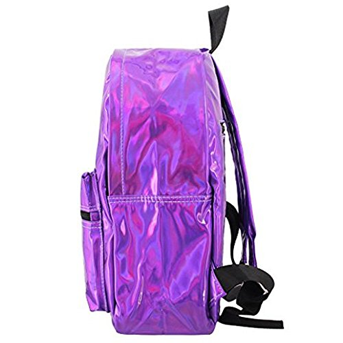 Backpack School Bag silver Bag Shoulder Holographic Women Shiny PU Satchel Iq4WgY