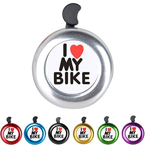 AD Silver Bike Bell - I Love My Bike Bell - Loud Aluminum Bike Horn Ring Mini Bike Accessories for Men Women Kids Girls Boys Bikes