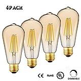 Dimmable LED Edison Light Bulb,4-Pack,E26 Medium Base,60 Watt Equivalent, Warm White 2200K, ST64, Antique Vintage Style Light, Squirrel Cage Filament,WAWUI