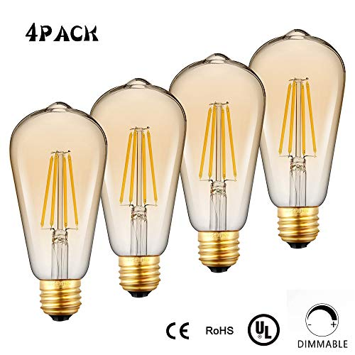 Edison LED Light Bulb,4-Pack, Dimmable, E26 Medium Base,60 Watt Equivalent, Warm White 3000K, ST64, Antique Vintage Style Light, Squirrel Cage Filament,WAWUI (Amber Glass-4-Pack)