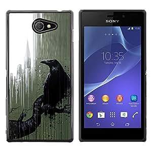 Exotic-Star ( City Nyc Window Rain Art Black ) Fundas Cover Cubre Hard Case Cover para Sony Xperia M2 / Xperia M2 Aqua / Sony Xperia M2 Dual