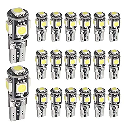 Boodlied 20PCS T10 LED Bulbs 5-SMD 5050 Chipset Super Bright No Error Free LED Bulb Fit 194 168 2825 W5W led Bulbs Replacement Car Map Dome Courtesy License Pate Interior Lights,White. (Black-Body): Home Audio & Theater