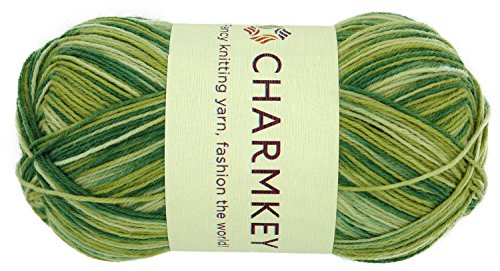 Charmkey Painted Sock Yarn Baby Soft Thin 2 Fine Colorful Prints Wool Ease Blended 5 Ply Superwash Acrylic Self Striping Thread for Stocking Glove Hat, 1 Skein, 3.53 Ounce (Spring Green) 2 Ply Gold Yarn