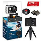 Auto Tech H9R Action Camera 4K Waterproof, Wifi Sports Camera Full HD 4K 25FPS 2.7K 30fps 1080P 60fps 720P 120fps Video Camera 12MP Photo and 170 Wide Angle Lens Includes 11 Mountings Kit 2 Batteries