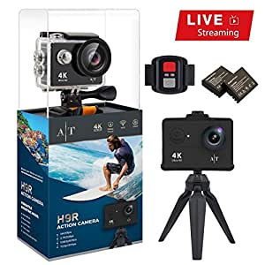 Auto Tech H9S Action Camera 4K Waterproof Wifi Sports Camera Underwater Full HD 4K 25FPS 2.7K 30fps 1080P 60fps Video Camera 12MP Photo and 170 Wide Angle Lens Includes 11 Mountings Kit 2 Batteries