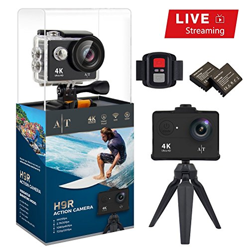 Auto Tech Action Camera H9R 4K Waterproof, Wifi Sports Camera Full HD 4K 25FPS 2.7K 30fps 1080P 60fps 720P 120fps Video Camera 12MP Photo and 170 Wide Angle Lens Includes 11 Mountings Kit 2 Batteries