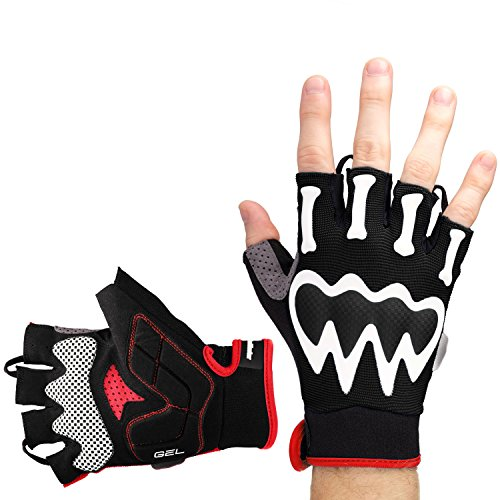 red and white cycling gloves - 1