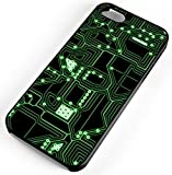 iPhone Case Fits Apple iPhone 8 PLUS 8+ Circuit Board CPU Electronics Look Not Real Board Black Rubber