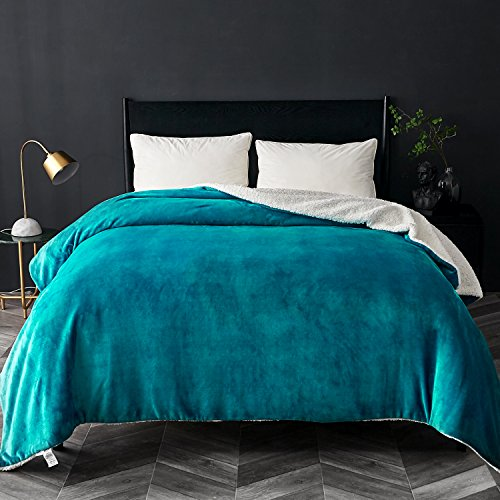 Bedsure Sherpa Fleece Blanket Twin Size Teal Plush Blanket Fuzzy Soft Blanket Microfiber