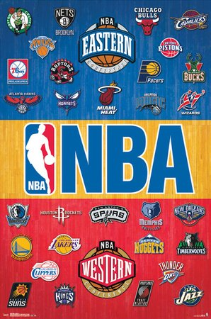 NBA all in one team logos poster print