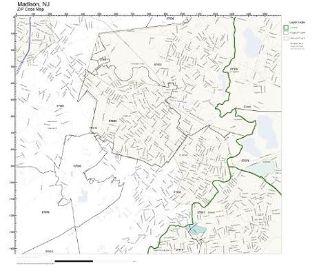 Amazon.com: ZIP Code Wall Map of Madison, NJ ZIP Code Map Not ...