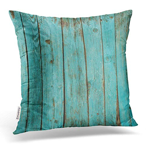 Emvency Decorative Throw Pillow Cover Square Size 20x20 Inches Turquoise Wood Teal Barn Wood Weathered Beach Decor Pillowcase with Hidden Zipper Decor Fashion Cushion Gift for Home Sofa Bed Car (Brown Turquoise Pillows And)