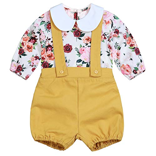 Baby Girl Floral Suspenders Pants Set Long Sleeve Flower Top + Short Overalls 0-6 Months Yellow