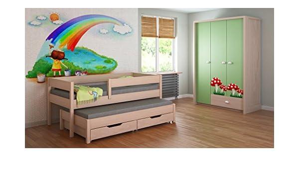 Childrens Beds Home Cama Nido para niños Colchones Junior para niños 140x70, 160x80, 180x80, 180x90, 200x90 con colchón de Espuma de 10 cm de Espuma/Coco ...