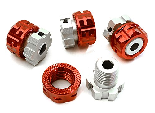 (Integy RC Model Hop-ups C28154RED Billet Machined 17mm Wheel Hex (4) +0mm Offset for T-Maxx, 1/10 Revo & Summit)