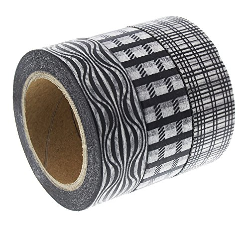 Washi Tape Set - 3-Pack Geometric Decorative Masking Tapes Rolls – Craft Washi Paper Tape Roll, Ideal for DIY Crafts, Gift Wrapping and Scrapbook - Black, 0.59 Inch x 32.8 Feet ()