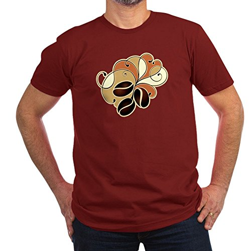 Truly Teague Men's Fitted T-Shirt (Dark) Coffee Bean Floral - Cranberry, Medium