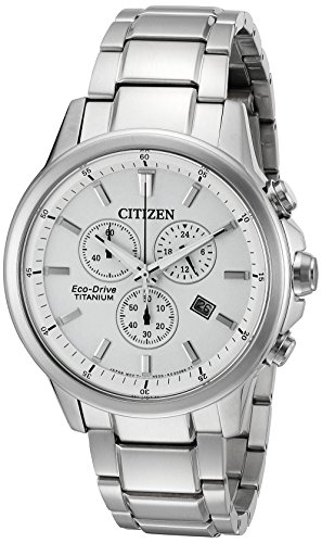 Citizen Eco-Drive Men's 'Titanium' Quartz Casual Watch, Color: Silver-Toned (Model: AT2340-56A)