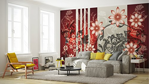Red and Grey Luxury Flower Pattern Wallpaper Mural by Consalnet (Image #2)