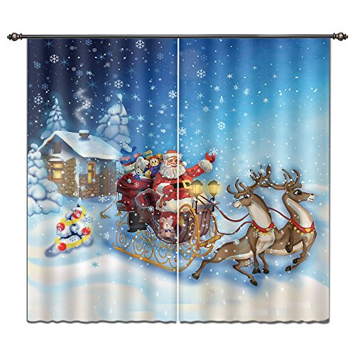 Curtain Drapes by, Holiday Theme Santa Claus Snow Sleigh Reindeer Rudolph Xmas Gift for Living Room Kids Room, 2 Pieces Set Window Treatment Panels 55x65 Inches ()