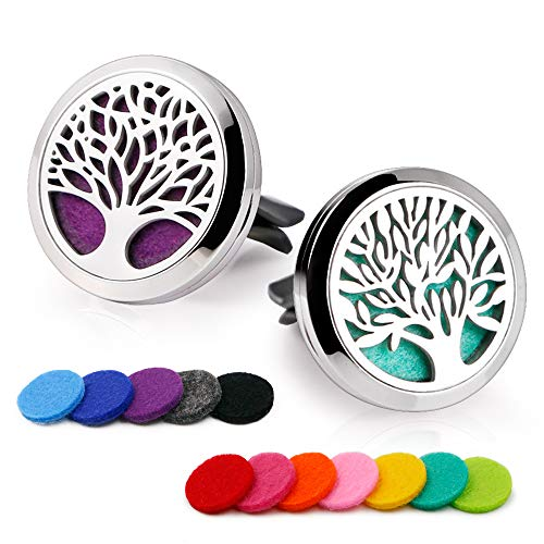 RoyAroma 2PCS Tree of Life Essential Oil Car Diffuser Stainless Steel Locket with 12 Felt Pads