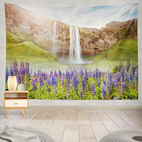 ASOCO Tapestry Wall Handing Waterfall in Sunlight Gorgeous Day and Picturesque Scene Iceland Sightseeing Europe On Earth Explore Wall Tapestry for Bedroom Living Room Tablecloth Dorm 60X80 Inches