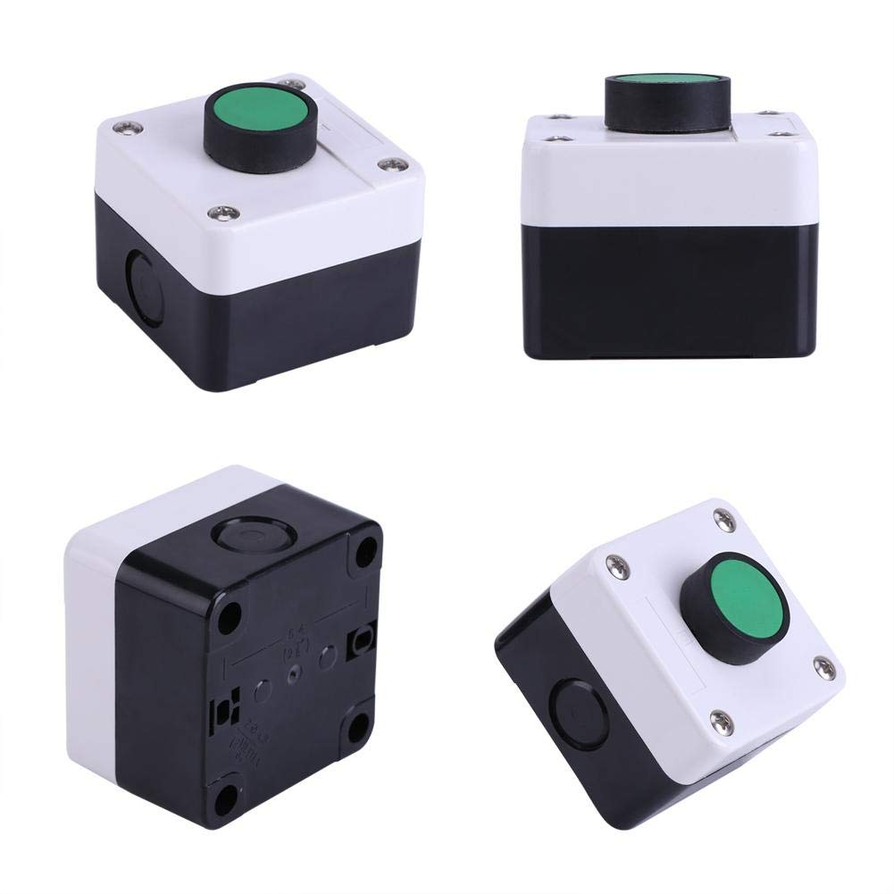 Push Button Station,Weatherproof Green Push Button Switch One Button Control Box for Gate Opener,Protective Level of The Cap is IP54 Good for Indoor and Outdoor Use