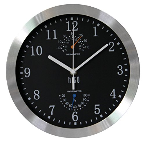 HITO Silent Non-ticking Wall Clock- Aluminum Frame Glass Cover, 10 inches (Black)