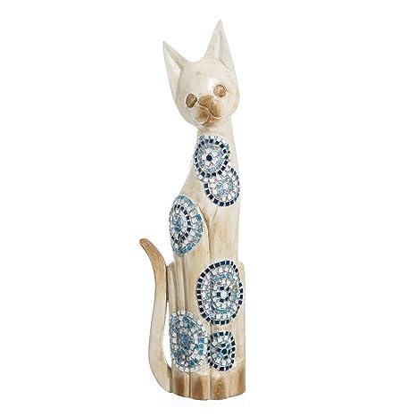 Figura de Gato de Madera con Mosaico Azul Oriental para ...