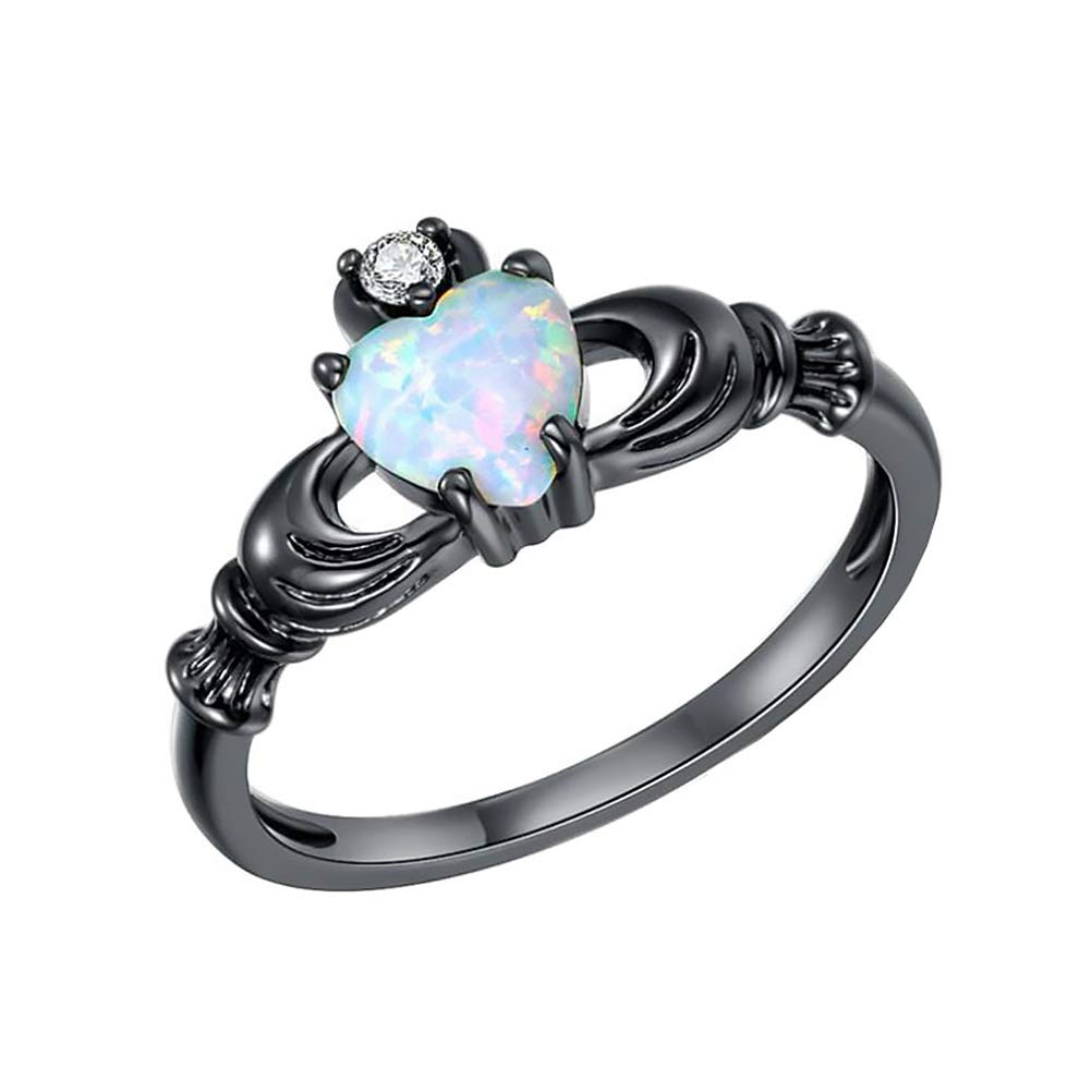 GerTong 1 PCS Luxury Women's Ring Elegant Heart Shape Opal Black Zircon Diamond Rings Anniversary Engagement Ring Jewelry Gifts Women Lady Girls Size 6#