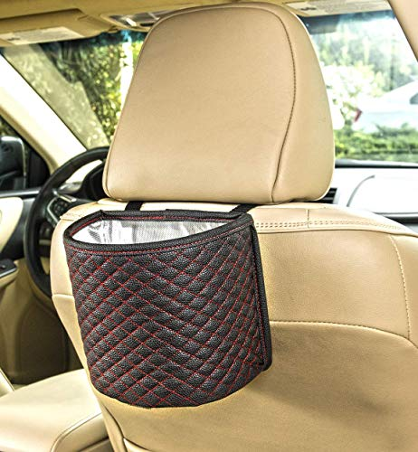 YoGi Prime car Trash can Garbage Bag for Your auto with Back seat Hanging Design, Elegante Well Design Cars Bags and bin with headrest Holder,Floor Waterproof Mini Container Perfect Best Accessories