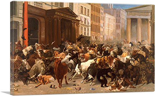 ARTCANVAS The Bulls and Bears in The Market 1879 Canvas Art Print by William Holbrook Beard- 40