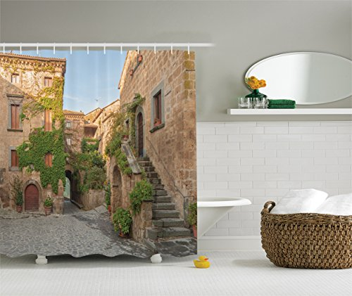 Ambesonne Tuscan Decor Collection  Village Houses With Flowers Outside In Burano Village Venice Italy  Polyester Fabric Bathroom Shower Curtain Set With Hooks  Ivory Green