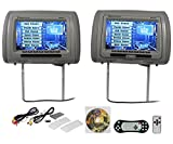 "Car Audio or Theater - New Rockville RDP931-GR 9"" Gray Car DVD/USB/HDMI Headrest Monitors+Video Games"