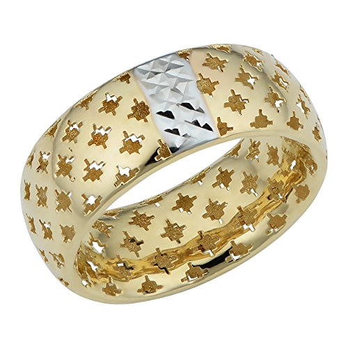 14k Gold Lattice - 14k Two-Tone Gold Lattice Band Ring (size 6)