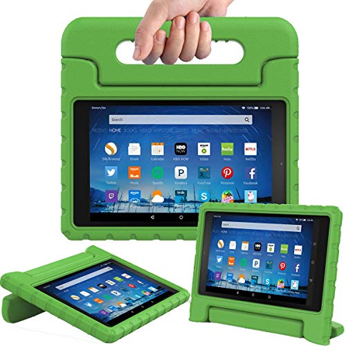 AVAWO Shock Proof Case for Fire HD 8 2017/2018 Tablet with Alexa - Kids Shockproof Convertible Handle Light Weight Protective Stand Case for Fire HD 8 inch (7th/8th Generation 2017/2018 Release),Green (Best Case For Fire Hd 8 2019)