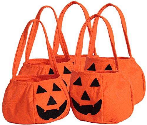 Pumpkin Trash Bag Costume - 5 Pack Halloween Pumpkin Trick or Treat Bag Kids Candy Bag for Halloween Party Costumes