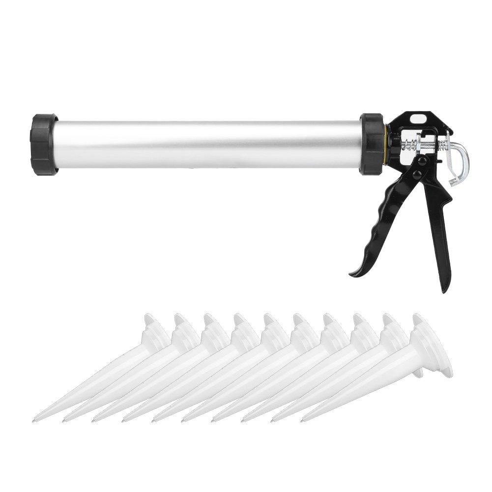 Kartuschenpresse, Aluminium Silikonpistole Ergonomische Kartuschenpistole mit Dü sen 600ml Zerone