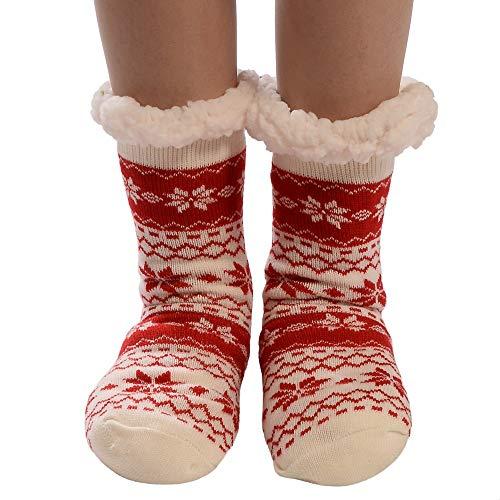 Willsa Christmas Women Cotton Socks Print Thicker Anti-slip Floor Socks Carpet Socks