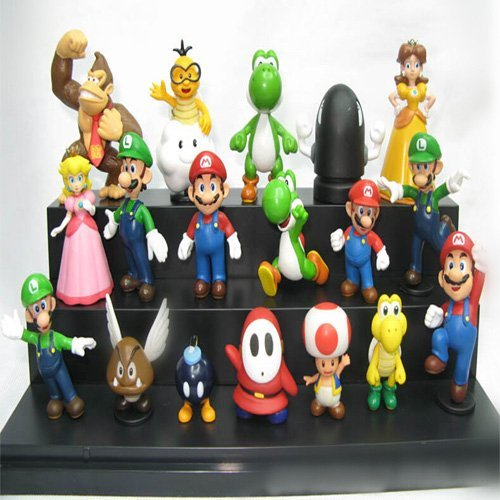 18pcs/set Super Mario PVC Action Figures toy Bros yoshi dinosaur Peach toad Goomba SuperMario Wholesale