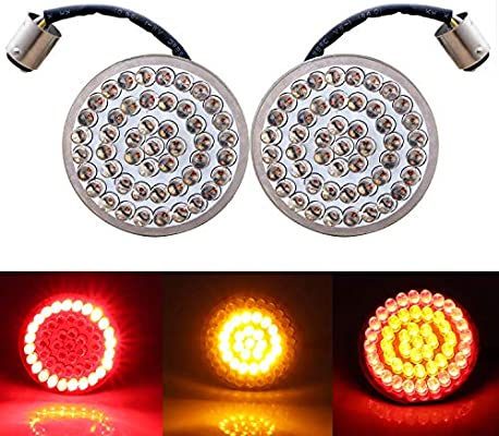 Bullet 1156 Yellow LED Turn Signal Inserts For Harley Touring Softail Sportster