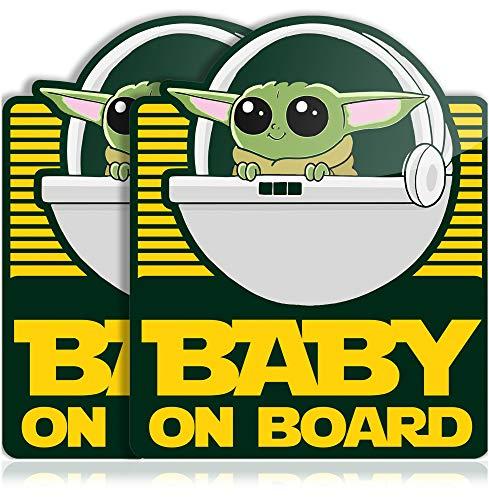 Super Cute Baby Yoda on Board Vinyl Decal Bumper Stickers