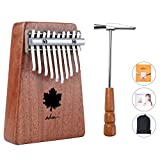 ADM Thumb Piano 10 keys Kalimba African Mahogany Maple Leaf Sound Hole with Music Book Tune Hammer and Bag