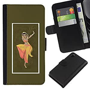 KLONGSHOP // Tirón de la caja Cartera de cuero con ranuras para tarjetas - Indian Vestido Mujer Danza Vestimenta Pose sesión - Sony Xperia Z3 D6603 //