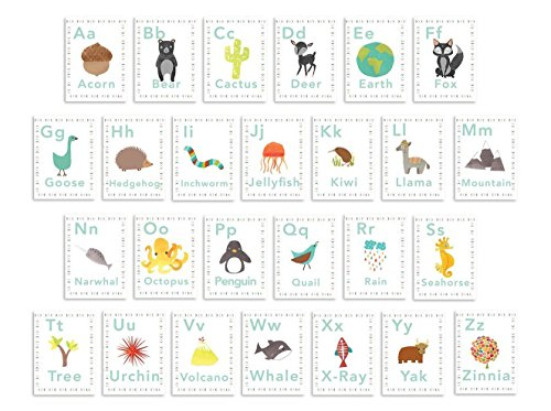 English Alphabet 5x7 Wall Cards, Alphabet Wall, Our World, Nature Themed, Kid's Wall Art, Nursery Decor, Kid's Room Decor, Gender Neutral Nursery Decor
