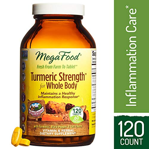 MegaFood - Turmeric Strength for Whole Body, Curcumin Support for a Healthy Inflammation Response with Tart Cherry and Holy Basil Leaf, Vegetarian, Gluten-Free, Non-GMO, 120 Tablets (FFP)